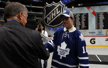 LOS ANGELES, CA - JUNE 26:  Bradley Ross shakes hands after being drafted in the second round by the Toronto Maple Leafs during day two of the 2010 NHL Entry Draft at Staples Center on June 26, 2010 in Los Angeles, California.  (Photo by Bruce Bennett/Get
