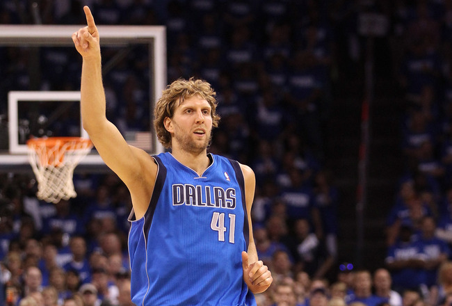 OKLAHOMA CITY, OK - MAY 21:  Dirk Nowitzki #41 of the Dallas Mavericks reacts in the second quarter while taking on the Oklahoma City Thunder in Game Three of the Western Conference Finals during the 2011 NBA Playoffs at Oklahoma City Arena on May 21, 201