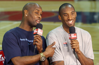 LAS VEGAS - JULY 24:  Gary Payton (L) interviews Kobe Bryant #10 of the USA Basketball Men's Senior National Team on the 'Best Damn Sports Show Period' after a practice at Valley High School June 24, 2008 in Las Vegas, Nevada.  (Photo by Ethan Miller/Gett