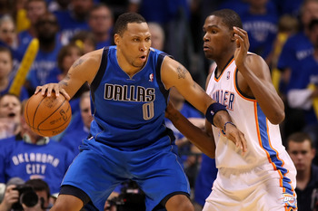 OKLAHOMA CITY, OK - MAY 23:  Shawn Marion #0 of the Dallas Mavericks posts up Kevin Durant #35 of the Oklahoma City Thunder in the third quarter in Game Four of the Western Conference Finals during the 2011 NBA Playoffs at Oklahoma City Arena on May 23, 2