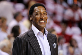 MIAMI, FL - MAY 22:  Former Chicago Bull Scottie Pippen looks on as the Chicago Bulls play against the Miami Heat in Game Three of the Eastern Conference Finals during the 2011 NBA Playoffs on May 22, 2011 at American Airlines Arena in Miami, Florida.  NO