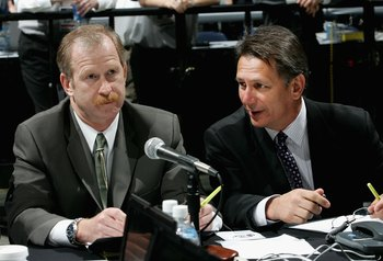 COLUMBUS, OH - JUNE 23:  Assistant General Manager Jim Nill and General Manager Ken Holland attend the 2007 NHL Entry Draft at Nationwide Arena on June 23, 2007 in Columbus, Ohio.  (Photo by Bruce Bennett/Getty Images)