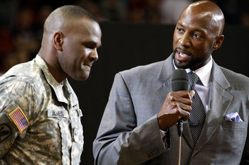 MIAMI, FL - MARCH 19:  Former Miami Heat Players Tim James (L) and Alonzo Mourning chat prior to  Miami Heat against the Denver Nuggets at American Airlines Arena on March 19, 2011 in Miami, Florida. NOTE TO USER: User expressly acknowledges and agrees th