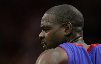 CLEVELAND - JUNE 02:  Chris Webber #84 of the Detroit Pistons looks on against the Cleveland Cavaliers in Game Six of the Eastern Conference Finals during the 2007 NBA Playoffs on June 2, 2007 at the Quicken Loans Arena in Cleveland, Ohio. The Cavs won 98