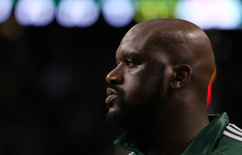 BOSTON, MA - MAY 07: Shaquille O'Neal #36 of the Boston Celtics warms up before Game Three of the Eastern Conference Semifinals in the 2011 NBA Playoffs on May 7, 2011 at the TD Garden in Boston, Massachusetts.  NOTE TO USER: User expressly acknowledges a