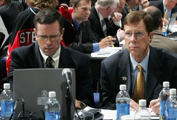 COLUMBUS, OH - JUNE 23:  Assistant General Manager Paul Fenton and General Manager David Poile of the Nashville Predators attend the 2007 NHL Entry Draft at Nationwide Arena on June 23, 2007 in Columbus, Ohio.  (Photo by Bruce Bennett/Getty Images)