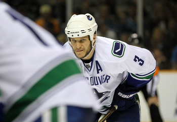 SAN JOSE, CA - MAY 22:  Kevin Bieksa #3 of the Vancouver Canucks lines up in his defensive position prior to a faceoff against the San Jose Sharks in Game Four of the Western Conference Finals during the 2011 Stanley Cup Playoffs at HP Pavilion on May 22,