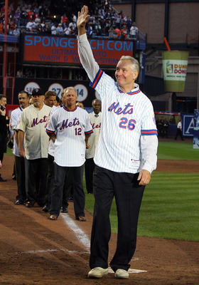 NEW YORK - SEPTEMBER 28: Former New York Met Dave Kingman waves to the crowd during post game ceremoies after the Mets played the Florida Marlins in the last regular season baseball game ever played in Shea Stadium on September 28, 2008 in the Flushing ne