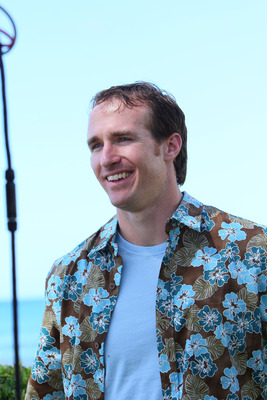 HONOLULU, HI - FEBRUARY 04:  In this handout photo provided by Pepsi MAX, New Orleans Saints quarterback Drew Bree on the set of the Funny Or Die Pepsi MAX video on February 4, 2011 in Honolulu, Hawaii.  (Photo by Pepsi MAX via Getty Images)