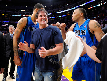 LOS ANGELES, CA - MAY 04:  Owner Mark Cuban of the Dallas Mavericks celebrates with Tyson Chandler #6 and Shawn Marion #0 after the Mavericks 93-81 victory against the Los Angeles Lakers in Game Two of the Western Conference Semifinals in the 2011 NBA Pla