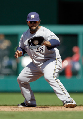 WASHINGTON, DC - APRIL 17:  Prince Fielder #28 of the Milwaukee Brewers in action against the Washington Nationals at Nationals Park on April 17, 2011 in Washington, DC.  (Photo by Rob Carr/Getty Images)