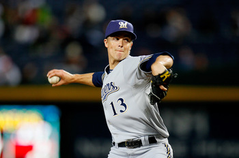 ATLANTA, GA - MAY 04:  Zack Greinke #13 of the Milwaukee Brewers pitches in the second inning against the Atlanta Braves at Turner Field on May 4, 2011 in Atlanta, Georgia.  (Photo by Kevin C. Cox/Getty Images)