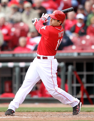 CINCINNATI, OH - MAY 04:  Joey Votto #19 of the Cincinnati Reds swings at a pitch during the game against the Houston Astros at Great American Ball Park on May 4, 2011 in Cincinnati, Ohio.  (Photo by Andy Lyons/Getty Images)