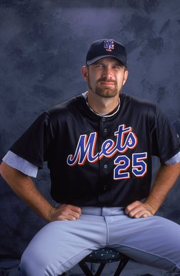 2 Mar 2000: Pitcher Bill Pulsipher #25 of the New York Mets poses for a studio portrait during Spring Training Photo Day in Port St. Lucie , Florida.