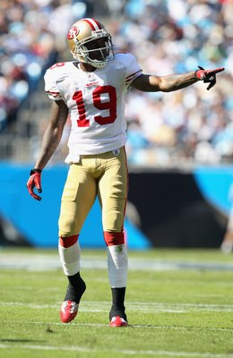 CHARLOTTE, NC - OCTOBER 24:  Ted Ginn #19 of the San Francisco 49ers against the Carolina Panthers during their game at Bank of America Stadium on October 24, 2010 in Charlotte, North Carolina.  (Photo by Streeter Lecka/Getty Images)