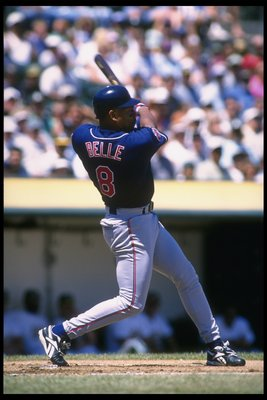 10 Aug 1996:  Rightfielder Albert Belle of the Cleveland Indians swings during a game against the Oakland Athletics at the Oakland Coliseum in Oakland, California.  The Athletics won the game, 5-1. Mandatory Credit: Otto Greule  /Allsport