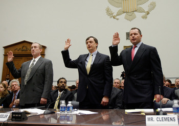 WASHINGTON - FEBRUARY 13:  (L-R) Brian McNamee, former personal trainer, Charlie Scheeler, member of the investigating staff for the Mitchell report and Major League Baseball player Roger Clemens raise their right hands as they are sworn in during a House