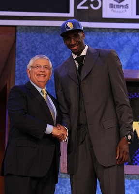 NEW YORK - JUNE 24:  Ekpe Udoh stands with NBA Commisioner David Stern after being drafted sixth by The Golden State warriors  at Madison Square Garden on June 24, 2010 in New York City.  NOTE TO USER: User expressly acknowledges and agrees that, by downl