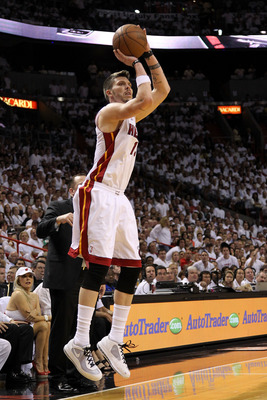 MIAMI, FL - MAY 24:  Mike Miller #13 of the Miami Heat attempts a shot against the Chicago Bulls in Game Four of the Eastern Conference Finals during the 2011 NBA Playoffs on May 24, 2011 at American Airlines Arena in Miami, Florida. NOTE TO USER: User ex