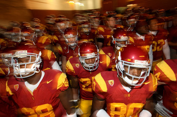LOS ANGELES, CA - NOVEMBER 27:  The USC Trojans come through the tunnel to the field before the game with the Notre Dame Fighting Irish at the Los Angeles Memorial Coliseum on November 27, 2010 in Los Angeles, California. Notre Dame won 20-16.  (Photo by