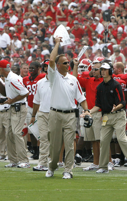 ATHENS - AUGUST 30:  Georgia Bulldogs head coach Mark Richt pumps up the crowd during the game against the Georgia Southern Eagles at Sanford Stadium on August 30, 2008 in Athens, Georgia.  The Bulldogs beat the Eagles 45-21.  (Photo by Mike Zarrilli/Gett
