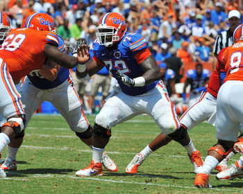 GAINESVILLE, FL - APRIL 9:  Center Jonotthan Harrison #72 of the Florida Gators set for play during the Orange and Blue spring football game April 9, 2011 at Ben Hill Griffin Stadium in Gainesville, Florida.  (Photo by Al Messerschmidt/Getty Images)