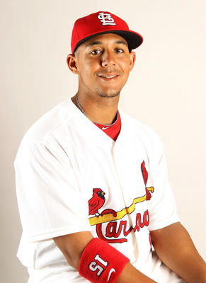 JUPITER, FL - FEBRUARY 24: John Jay #15 of the St. Louis Cardinals during Photo Day at Roger Dean Stadium on February 24, 2011 in Jupiter, Florida.  (Photo by Mike Ehrmann/Getty Images)