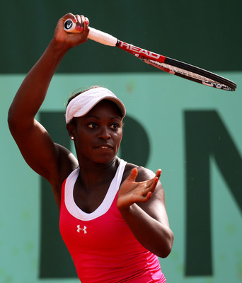 PARIS, FRANCE - MAY 24:  Sloane Stephens of USA hits a forehand during the women's singles round one match between Elena Baltacha of Great Britain and Sloane Stephens of USA on day three of the French Open at Roland Garros on May 24, 2011 in Paris, France