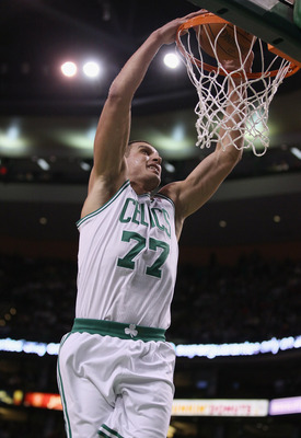 BOSTON, MA - MARCH 09:  Sasha Pavlovic #77 of the Boston Celtics dunks the ball in the first half against the Los Angeles Clippers on March 9, 2011 at the TD Garden in Boston, Massachusetts. NOTE TO USER: User expressly acknowledges and agrees that, by do
