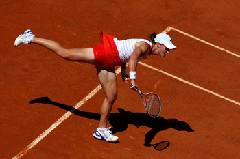 PARIS, FRANCE - MAY 22:  Samantha Stosur of Australia serves during the women's singles round one match between Iveta Benesova of Czech Republic and Samantha Stosur of Australia on day one of the French Open at Roland Garros on May 22, 2011 in Paris, Fran