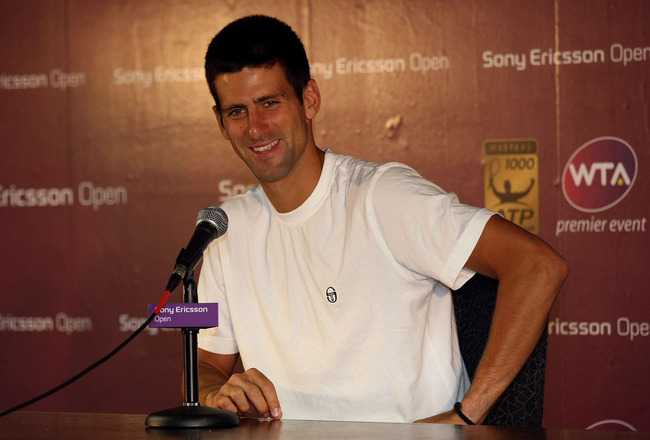 KEY BISCAYNE, FL - MARCH 24:  Novak Djokovic of Serbia answers questions from the media at a press conference during the Sony Ericsson Open at Crandon Park Tennis Center on March 24, 2011 in Key Biscayne, Florida.  (Photo by Chris Chambers/Getty Images)