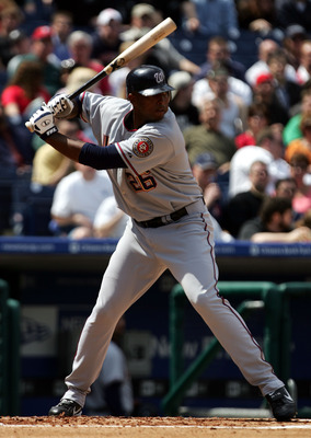 PHILADELPHIA - APRIL 7:  J.J. Davis #26 of the Washington Nationals bats against the Philadelphia Phillies on April 7, 2005 at Citizens Bank Park in Philadelphia, Pennsylvania.  The Nationals won 5-4 in 10 innings.  (Photo by Doug Pensinger/Getty Images)
