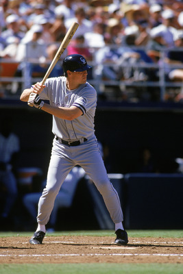 SAN DIEGO - MAY 20:  Dale Murphy #3 of the Colorado Rockies stands ready at the plate during a game against the San Diego Padres at Qualcomm Stadium on May 20, 1993 in San Diego, California. (Photo by Stephen Dunn/Getty Images)
