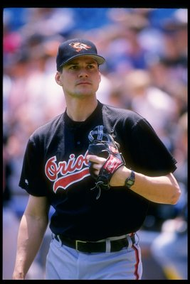 29 May 1994: Pitcher Ben McDonald of the Baltimore Orioles looks on during a game against the Chicago White Sox at Comiskey Park in Chicago, Illinois.