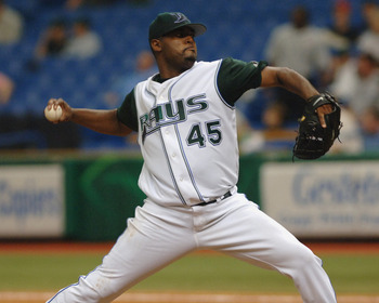 Tampa Bay Devil Rays  Dewon Brazelton pitches  against the Oakland Athletics April 10, 2005 at Tropicana Field. (Photo by A. Messerschmidt/Getty Images) *** Local Caption ***