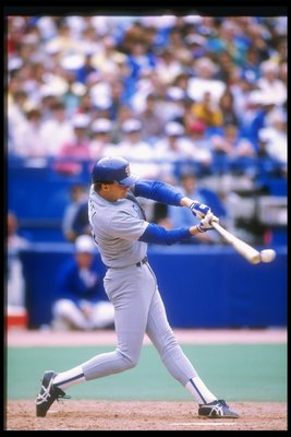 1989:  Jeff Kunkel of the Texas Rangers swings at the ball during a game against the Toronto Blue Jays at the Skydome in Toronto, Canada. Mandatory Credit: Rick Stewart  /Allsport