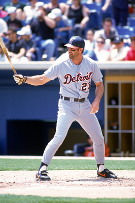 CHICAGO - JUNE 4:  Kirk Gibson #23 of the Detroit Tigers stands at the plate during the game against the Chicago White Sox at the New Comiskey Park on June 4, 1995 in Chicago, Illinois. The Tigers defeated the White Sox 8-5. (Photo by Jonathan Daniel/Gett