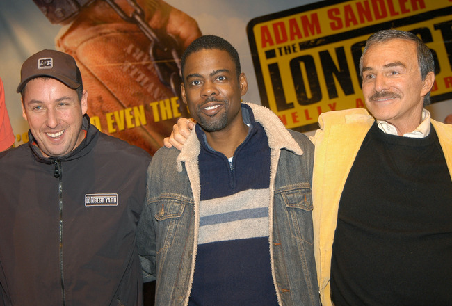 Adam Sandler, Chris Rock and Burt Reynolds (Photo by Jamie McCarthy/Getty Images)