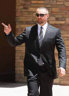 PEORIA, AZ - MAY 20:  Michael Cuddyer of the Minnesota Twins outside of the church following the funeral service for Hall of Famer Harmon Killebrew at Christ's Church of the Valley on May 20, 2011 in Peoria, Arizona. Killebrew died from esophageal cancer