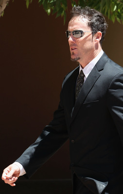 PEORIA, AZ - MAY 20:  Joe Nathan of the Minnesota Twins outside of the church following the funeral service for Hall of Famer Harmon Killebrew at Christ's Church of the Valley on May 20, 2011 in Peoria, Arizona. Killebrew died from esophageal cancer on Ma