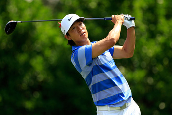 PONTE VEDRA BEACH, FL - MAY 13:  Anthony Kim hits his tee shot on the 11th hole during the second round of THE PLAYERS Championship held at THE PLAYERS Stadium course at TPC Sawgrass on May 13, 2011 in Ponte Vedra Beach, Florida.  (Photo by Sam Greenwood/