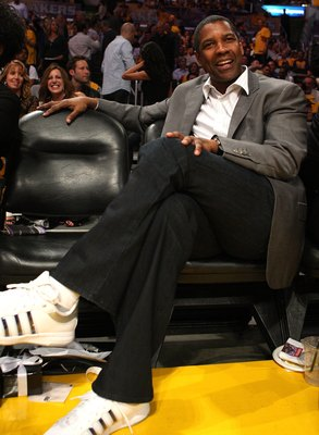 LOS ANGELES, CA - JUNE 04:  Actor Denzel Washington sits courtside at Game One of the 2009 NBA Finals between the Los Angeles Lakers and the Orlando Magic in at Staples Center on June 4, 2009 in Los Angeles, California. NOTE TO USER: User expressly acknow