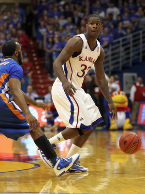LAWRENCE, KS - DECEMBER 29:  Josh Selby #32 of the Kansas Jayhawks in action during the game against the University of Texas Arlington Mavericks on December 29, 2010 at Allen Fieldhouse in Lawrence, Kansas.  (Photo by Jamie Squire/Getty Images)