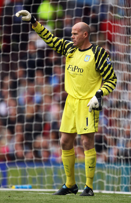 BIRMINGHAM, ENGLAND - MAY 22:  Brad Friedel of Aston Villa instructs his team during the Barclays Premier League match between Aston Villa and Liverpool at Villa Park on May 22, 2011 in Birmingham, England.  (Photo by Bryn Lennon/Getty Images)