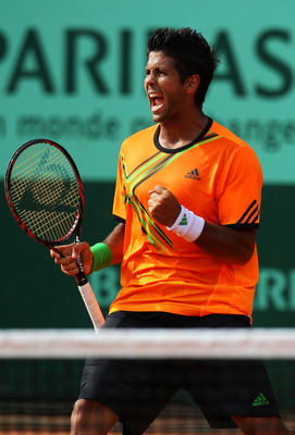 PARIS, FRANCE - MAY 24:  Fernando Verdasco of Spain celebrates a point during the men's singles round one match between Juan Monaco of Argentina and Fernando Verdasco of Spain on day three of the French Open at Roland Garros on May 24, 2011 in Paris, Fran