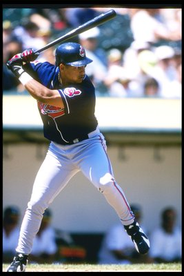 11 Aug 1996: Right fielder Manny Ramierz of the Cleveland Indians prepares to swing during a game against the Oakland Athletics at the Oakland Alameda Coliseum in Oakland, California. The Athletics won the game 9-3.