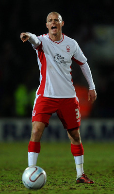 SCUNTHORPE, ENGLAND - FEBRUARY 16:  Paul Konchesky of Nottingham Forest shouts during the npower Championship match between Scunthorpe United and Nottingham Forest at Glanford Park on February 16, 2011 in Scunthorpe, England.  (Photo by Laurence Griffiths