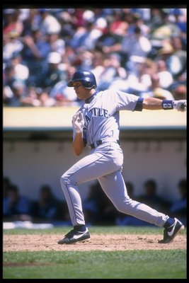16 Jul 1996:  Infielder Alex Rodriguez of the Seattle Mariners hits the ball during a game against the Oakland Athletics at the Oakland-Alameda County Coliseum in Oakland, California.  The Athletics won the game, 12-5. Mandatory Credit: Otto Greule Jr.  /