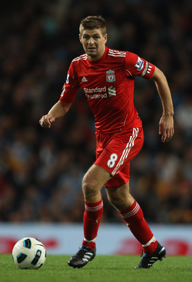 MANCHESTER, ENGLAND - AUGUST 23:  Steven Gerrard of Liverpool during the Barclays Premier League match between Manchester City and Liverpool at City of Manchester Stadium on August 23, 2010 in Manchester, England.  (Photo by Alex Livesey/Getty Images)