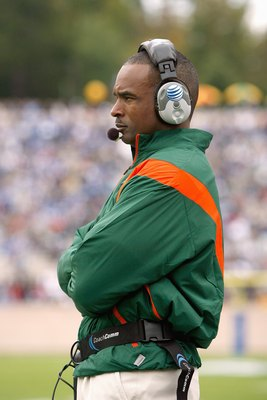 DURHAM, NC - OCTOBER 18:  Head coach Randy Shannon of the Miami Hurricanes watches the action during the game against the Duke Blue Devils at Wallace Wade Stadium on October 18, 2008 in Durham, North Carolina.  (Photo by Kevin C. Cox/Getty Images)